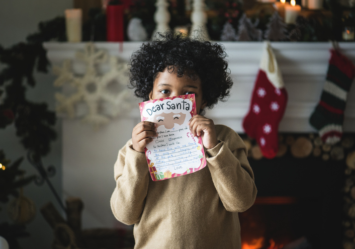 Kid with Christmas wishlist